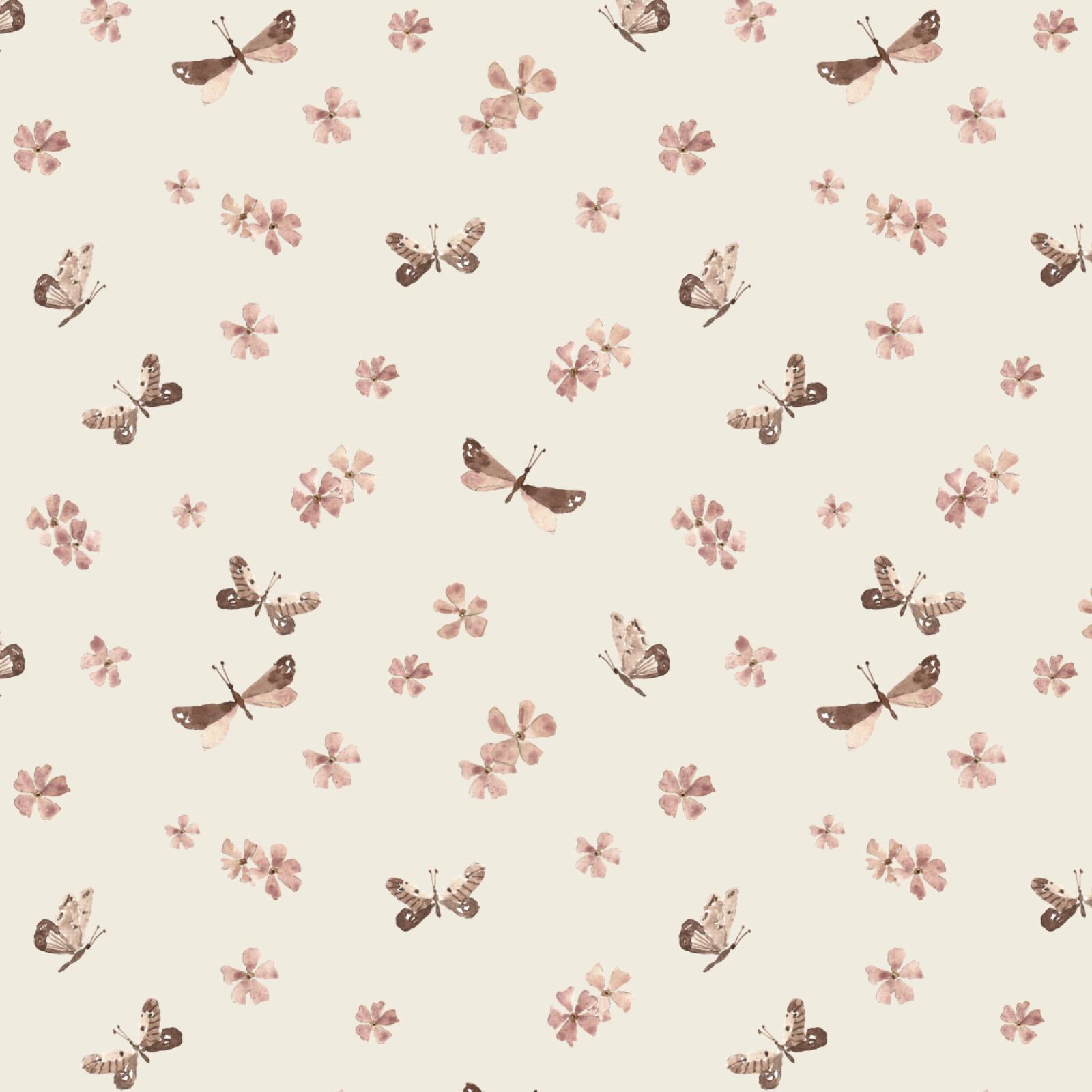 merely susan projekt wzoru na tkaninę w kwiaty ćmy na licencję ręcznie malowane ilustracje akwarelowe na bezowym tle