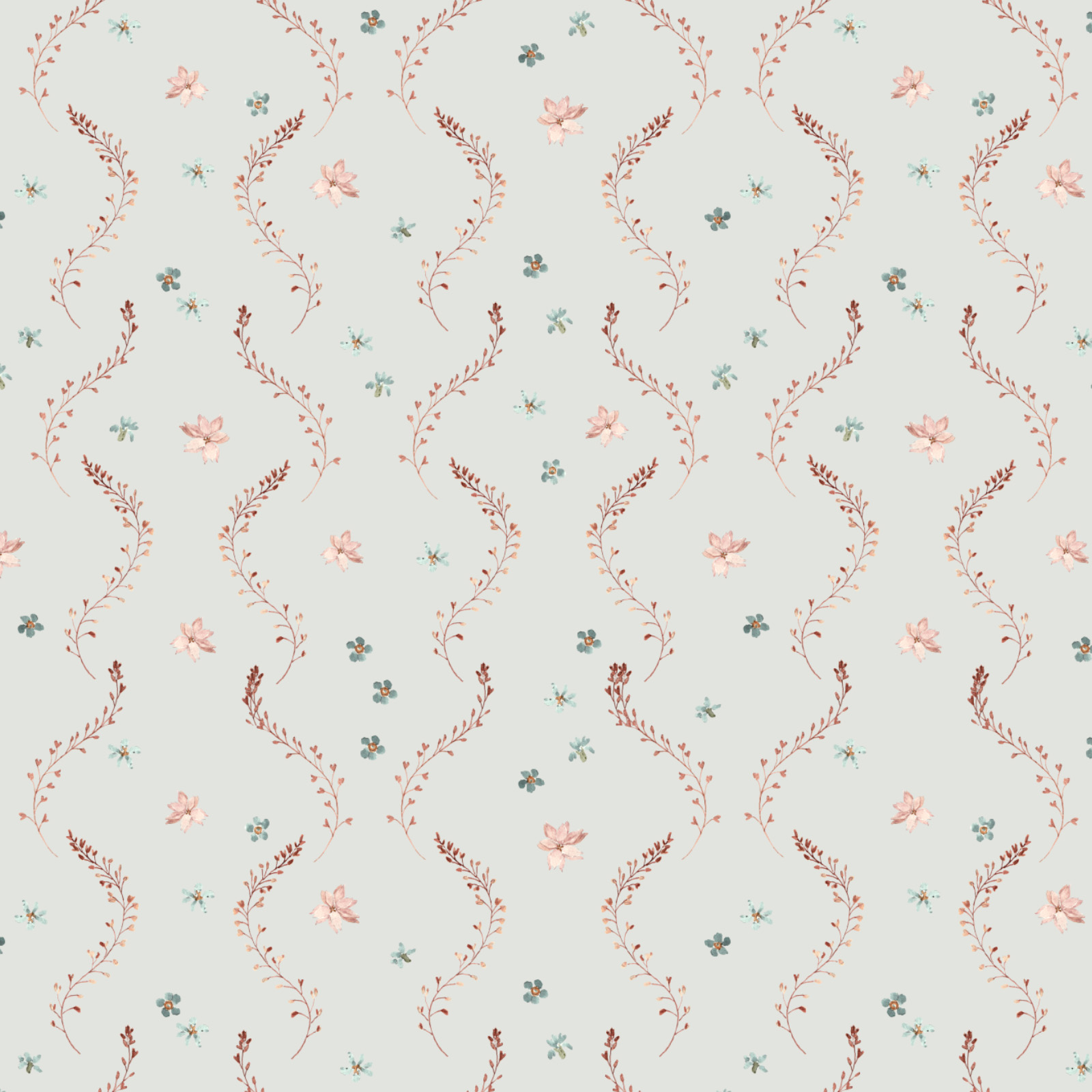 merely susan projekt wzoru na tkaninę w kwiaty polne niezapominajki na licencję ręcznie malowane ilustracje akwarelowe na szarym tle